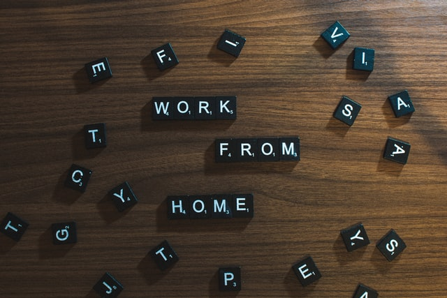 """scrabble tiles that spell """"work from home"""""""